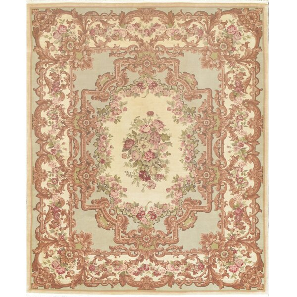 One-of-a-Kind Savonnerie Fine Hand-Knotted Wool Ivory/Brown Indoor Area Rug by Mansour
