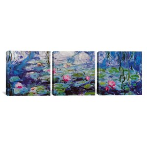 'Nympheas' by Claude Monet 3 Piece Painting Print on Wrapped Canvas Set by August Grove
