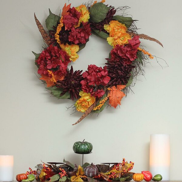 Autumn Harvest Thanksgiving 24 Peony/Mum and Feather Artificial Floral Wreath by August Grove