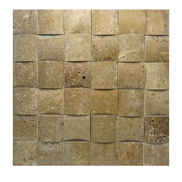 3D Honed 2 x 2 Natural Stone Mosaic Tile in Noce by QDI Surfaces