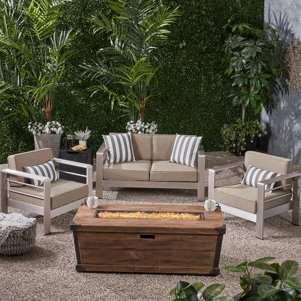Galindo 5 Piece Set Sofa Seating Group with Cushions by Rosecliff Heights