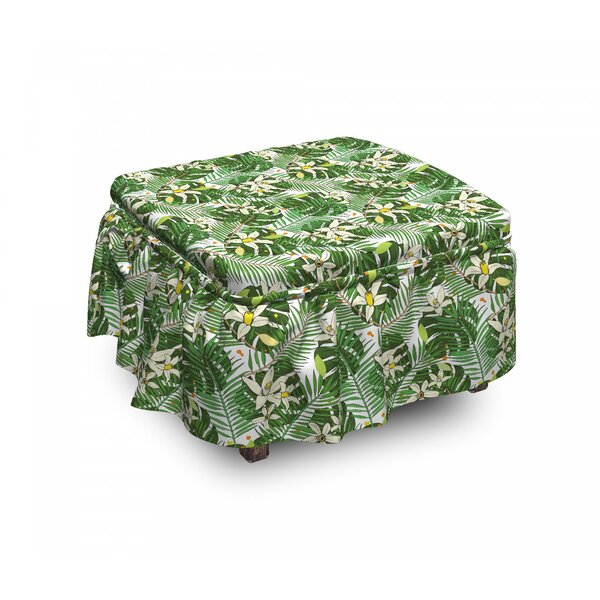 Flowers And Fern Leaves Ottoman Slipcover (Set Of 2) By East Urban Home