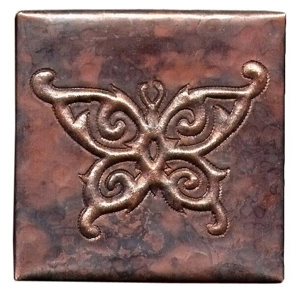 Butterfly 4 x 4 Copper Tile in Dark Copper by D'Vontz
