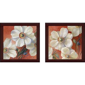 Fleurs I' 2 Piece Framed Acrylic Painting Print Set Under Glass by Charlton Home