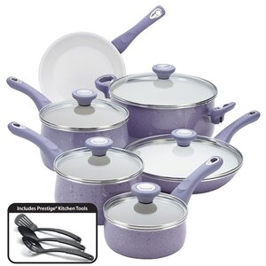 Aluminum Cookware Speckled Nonstick 14 Piece Cookware Set