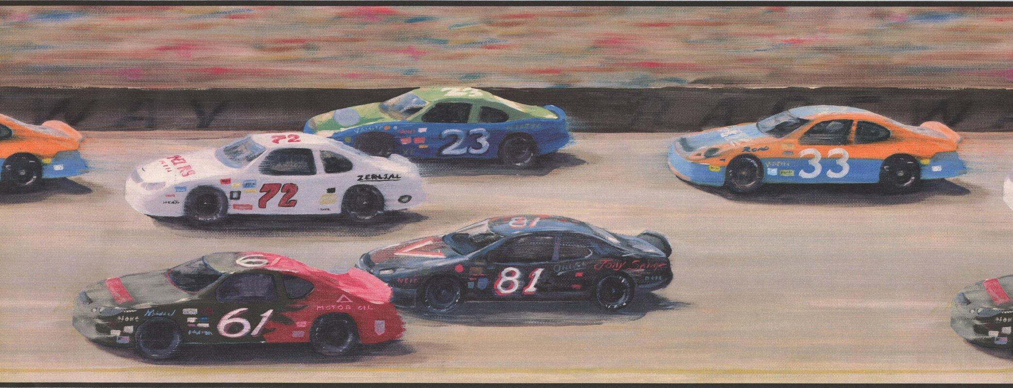 York Wallcoverings Race Track Racing Cars Sports Retro Design 15\' L ...