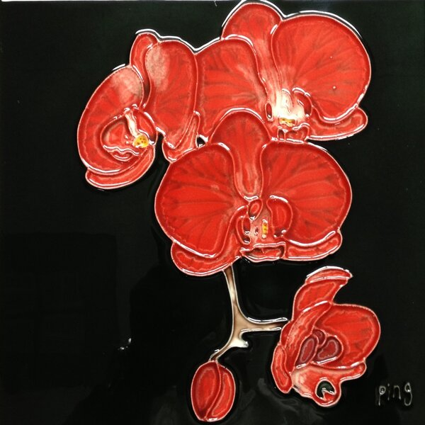 3 Red Orchids With Black Background Tile Wall Decor by Continental Art Center
