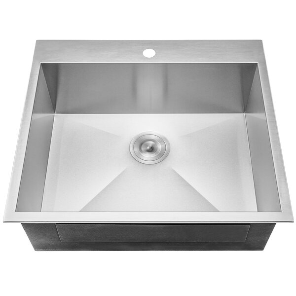 25 x 22 Drop-In Top Mount Stainless Steel Single Bowl Kitchen Sink w/ Dish Grid and Drain Strainer Kit by AKDY