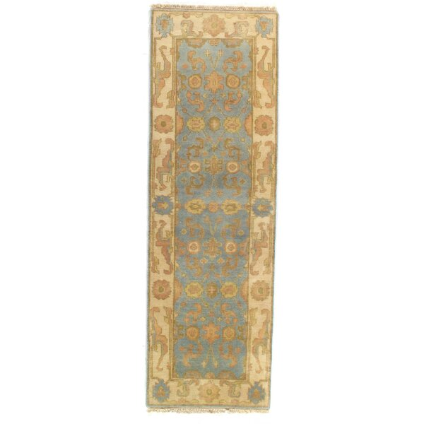 Original Oushak Design Hand-Knotted Wool Light Blue Area Rug by Pasargad NY