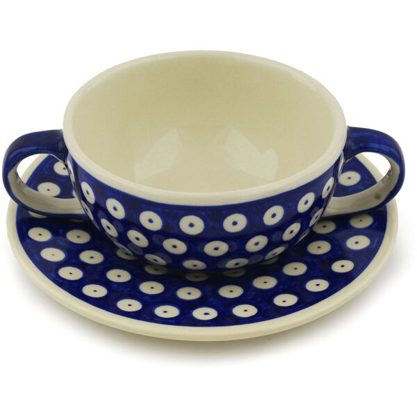 Bouillon 14 oz. Teacup with Saucer by Polmedia