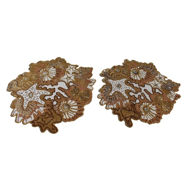 Baroque Handmade Beaded Tabletop 15 Placemat (Set of 2) by NYC Decor