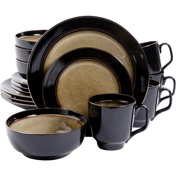 Stoneware 16 Piece Dinnerware Set, Service for 4 by Mint Pantry