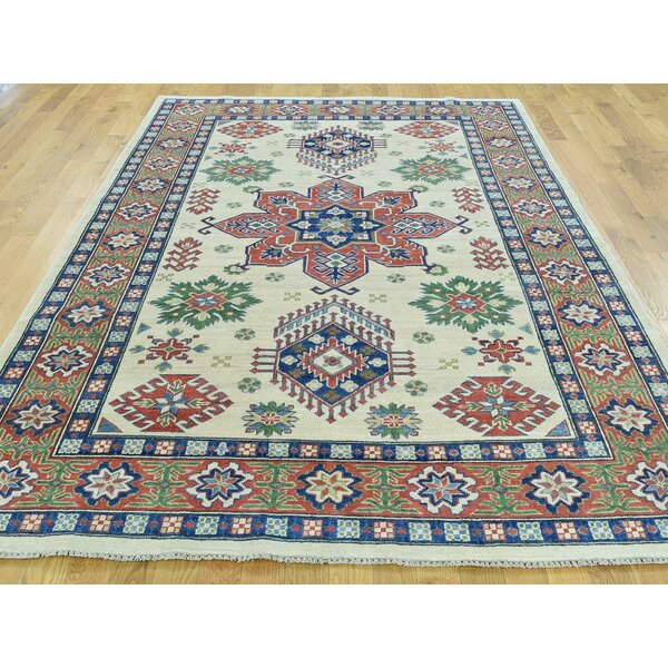 One-of-a-Kind Berriman Kazak Geometric Design Handwoven Ivory Wool Area Rug by Isabelline