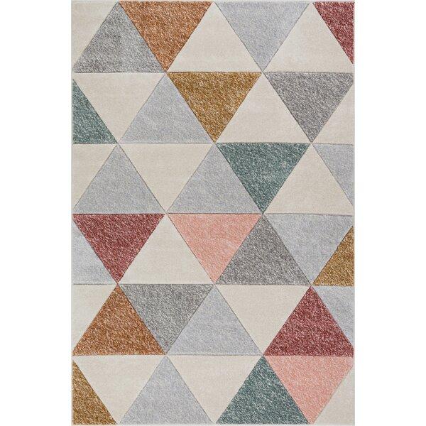 Scheel Modern Triangle Shapes Cream Geometrix Area Rug by Wrought Studio