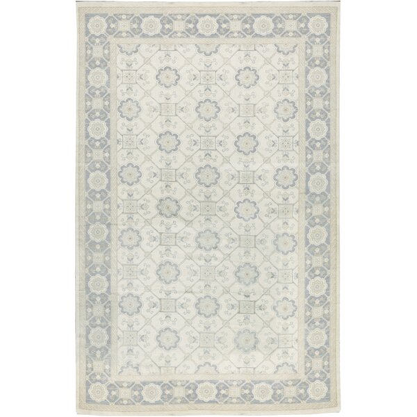 One-of-a-Kind Hand-Knotted Beige 13'5 x 20'6 Wool Area Rug