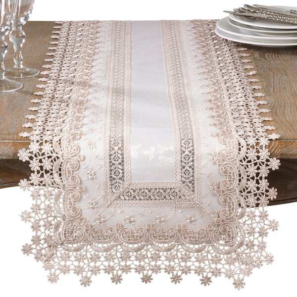 Guy Elegant Embroidered Floral Applique Old Fashioned Table Runner by August Grove