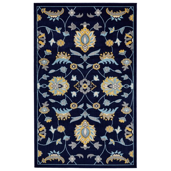 Knuth Aqua/Navy/Yellow Area Rug by Winston Porter