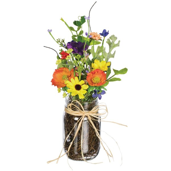 Wildflower Floral Arrangement in Pot (Set of 2) by August Grove