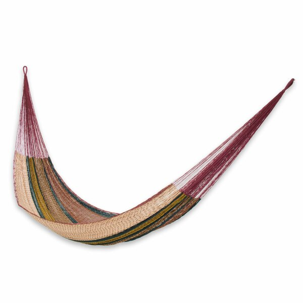 Double Person Portable Burgundy Trimmed Hand-Woven Mayan Artists of the Yucatan Nylon with Hanging Accessories Included Indoor And Outdoor Hammock by Novica