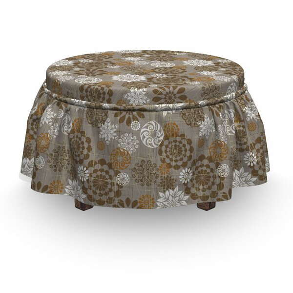 Floral Ornament Flower 2 Piece Box Cushion Ottoman Slipcover Set By East Urban Home
