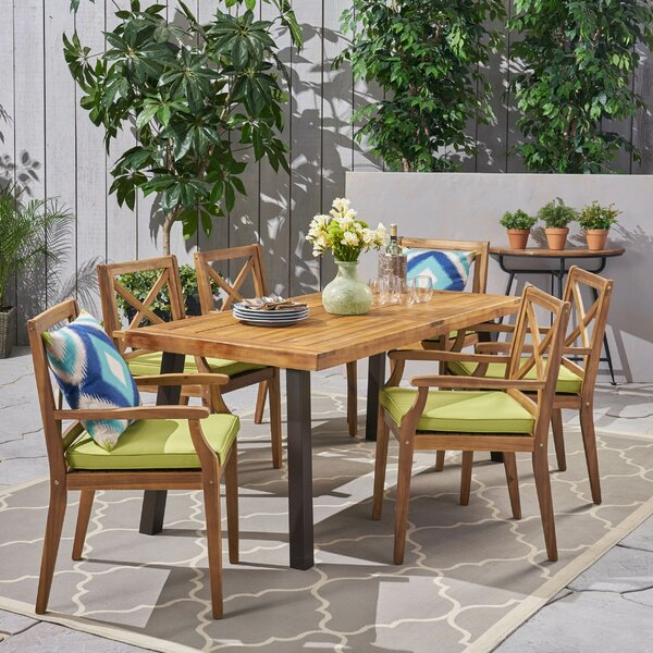 Katrina Outdoor 7 Piece Dining Set with Cushions by Bay Isle Home