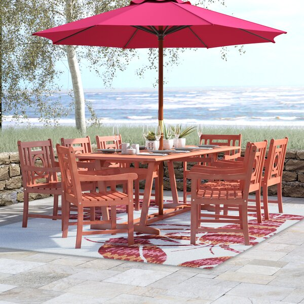Monterry 9 Piece Eucalyptus Hardwood Dining Set by Beachcrest Home