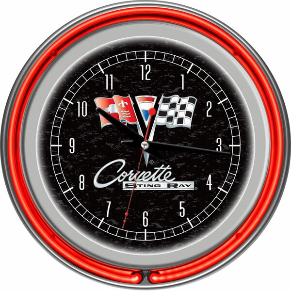 14.5 Corvette C2 Double Ring Neon Wall Clock by Trademark Global
