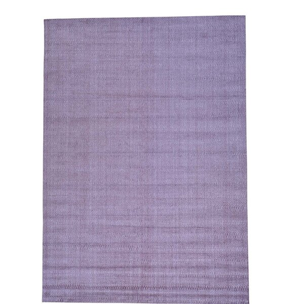 Tone on Tone Oriental Hand-Knotted Silk Purple Area Rug by Bungalow Rose