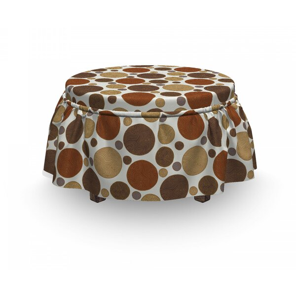 Vintage Lines Abstract 2 Piece Box Cushion Ottoman Slipcover Set By East Urban Home