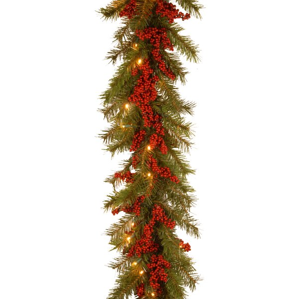 Decorative Pre-Lit Valley Pine Garland by Laurel Foundry Modern Farmhouse