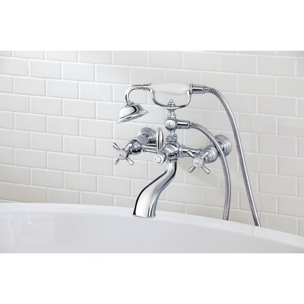 Weymouth Double Handle Wall Mounted Tub Spout Trim with Diverter and Handshower by Moen Moen