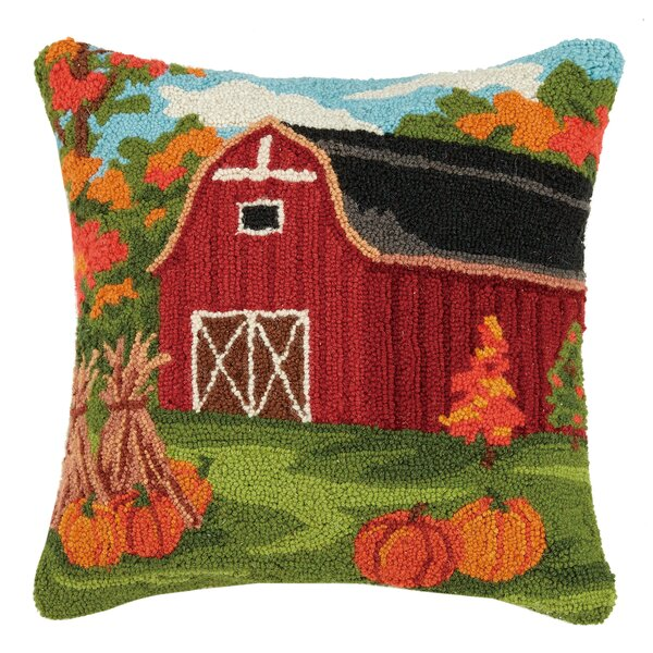 Munford Fall Barn Wool Throw Pillow by August Grove