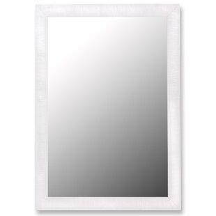 Wade Logan Glossy White Petite Ribbed Wall Mirror