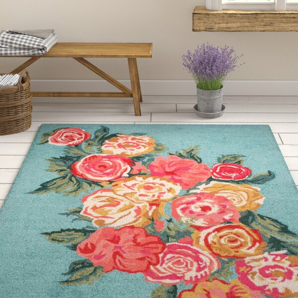 Jeanlouis Hand-Hooked Light Blue/Pink Area Rug by August Grove