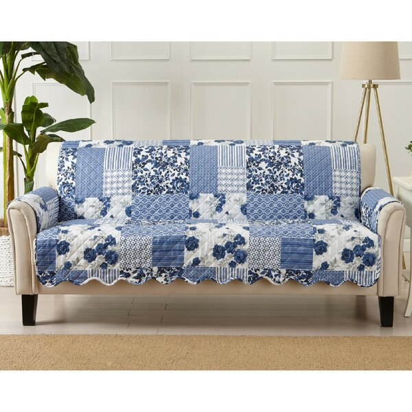 Patchwork Scalloped Printed Box Cushion Sofa Slipcover By Winston Porter