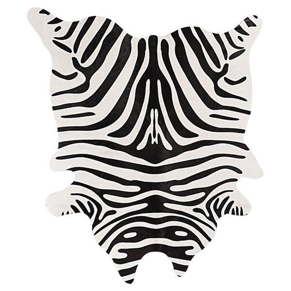 Grady Black/Off-White Zebra Cowhide Rug by Bloomsbury Market