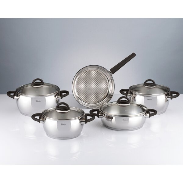 Bahama 9 Piece Stainless Steel Cookware Set by Hisar