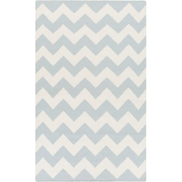 Bangor Blue Chevron Area Rug by Ebern Designs