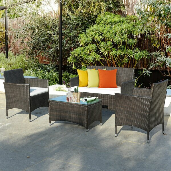 Saurabh 4 Piece Rattan Sofa Seating Group with Cushions by Wrought Studio