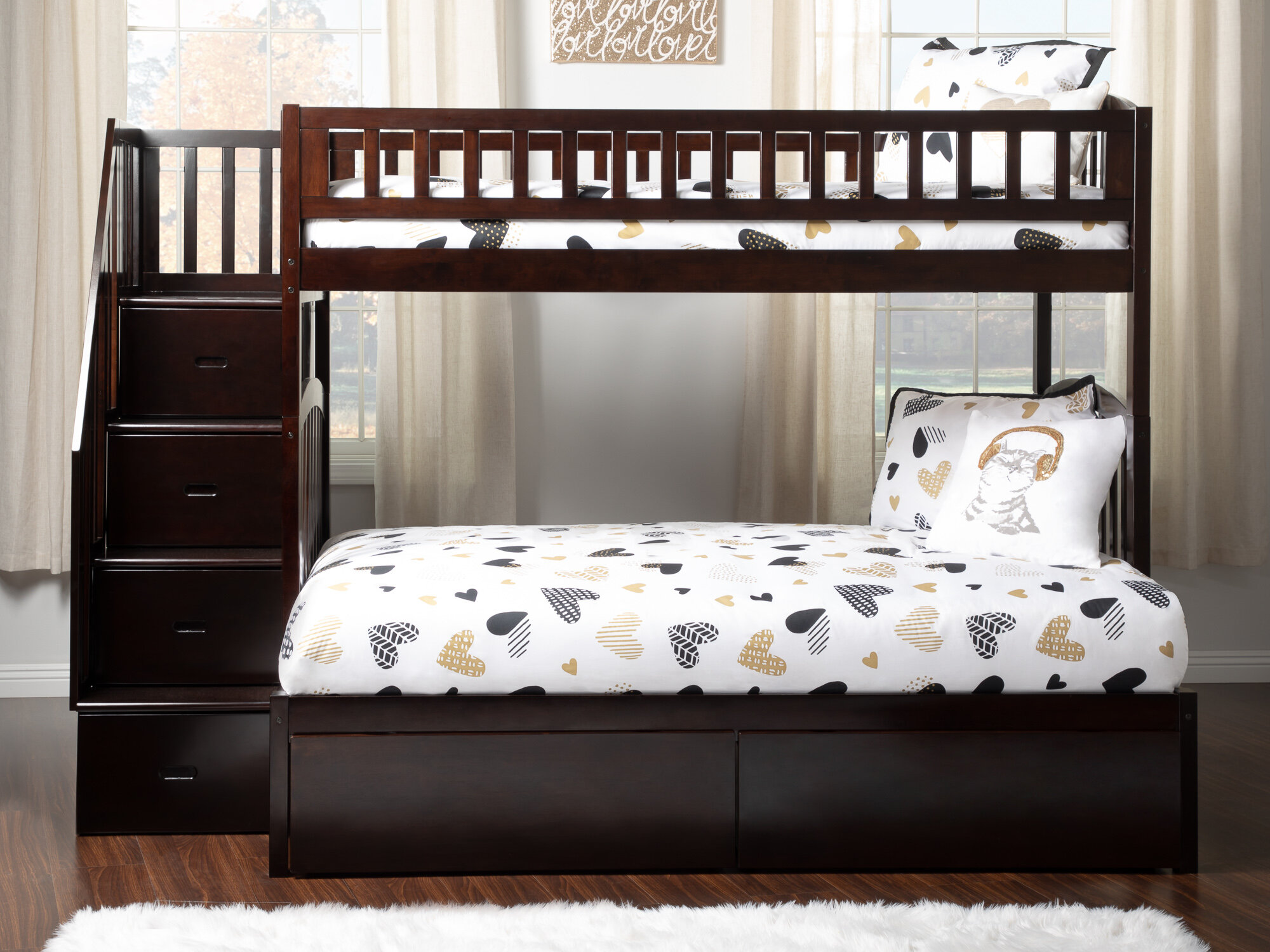 Harriet Bee Salem Staircase Twin Over Full Bed With Drawers Reviews Wayfair