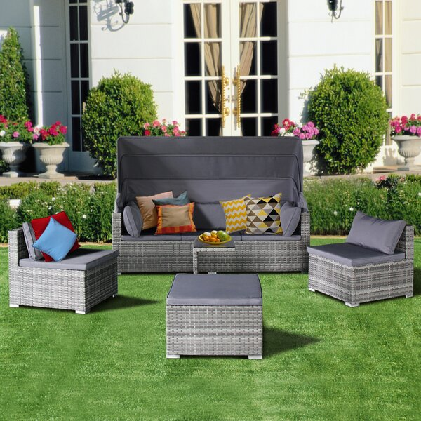 Jacquline Outdoor 5 Piece Sofa Seating Group with Cushions Brayden Studio W001606485
