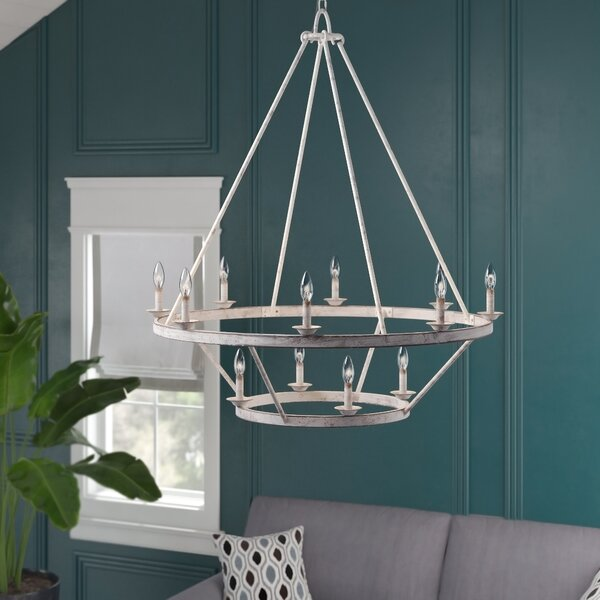 Schaller 12 - Light Candle Style Wagon Wheel Chandelier With Crystal Accents By Breakwater Bay