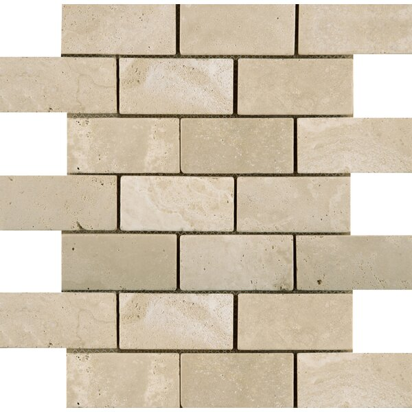 Travertine 2 x 4/12 x 12 Offset Mosaic Tile in Ancient Beige by Emser Tile