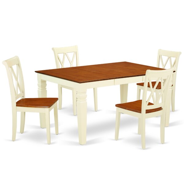 Lando 5 Piece Extendable Solid Wood Dining Set by August Grove
