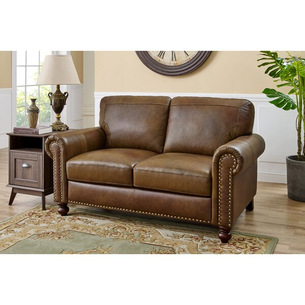 Popular Brand Garr Leather Loveseat by Darby Home Co by Darby Home Co