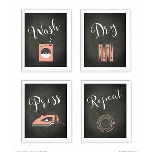 Wash Dry Press Repeat 4 Piece Graphic Art by Koyal Wholesale