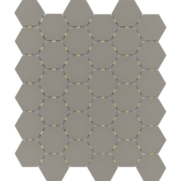 Zone Hex 2 x 2 Porcelain Mosaic Tile in Matte Taupe by Emser Tile