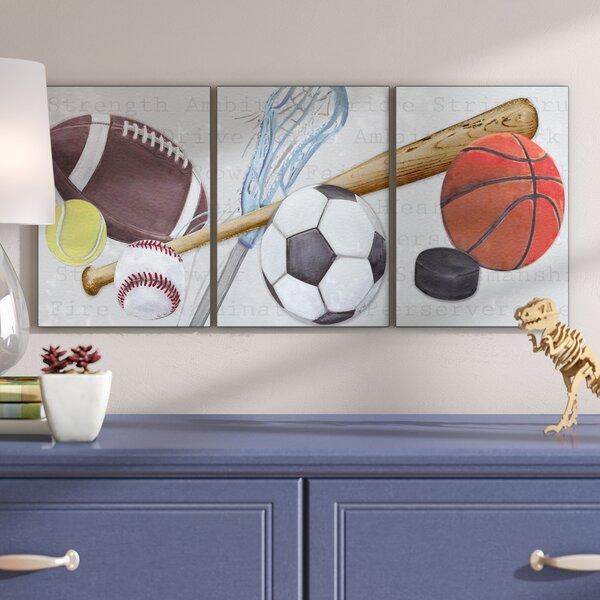 Stella Sports Balls Triptych Wall Plaque (Set of 3) by Viv + Rae
