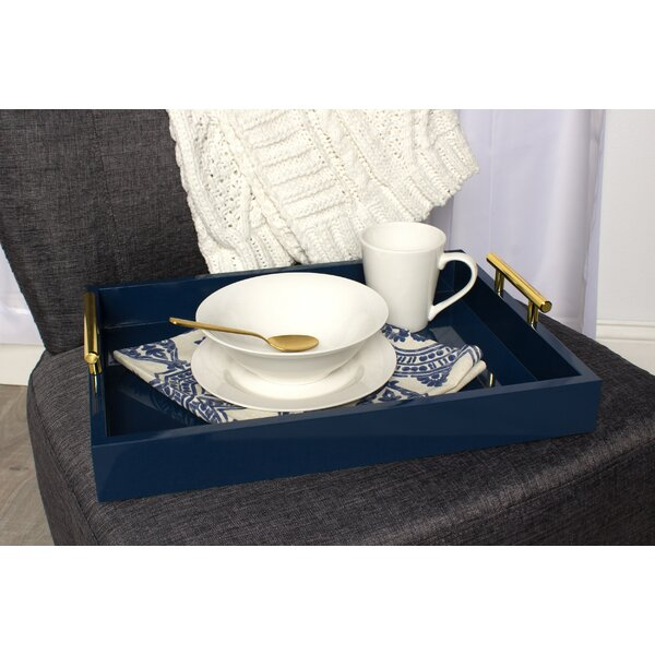 Lipton Decorative Serving Tray with Polished Metal Handles by Kate and Laurel