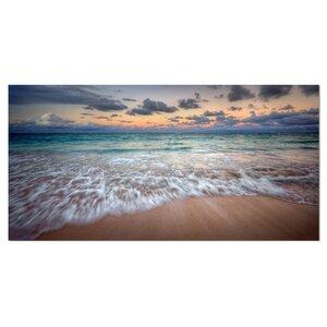Waves Crashing Serene Seashore Seashore Photographic Print on Wrapped Canvas by Design Art